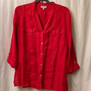Woman V Neck  Beautiful Red Blouse